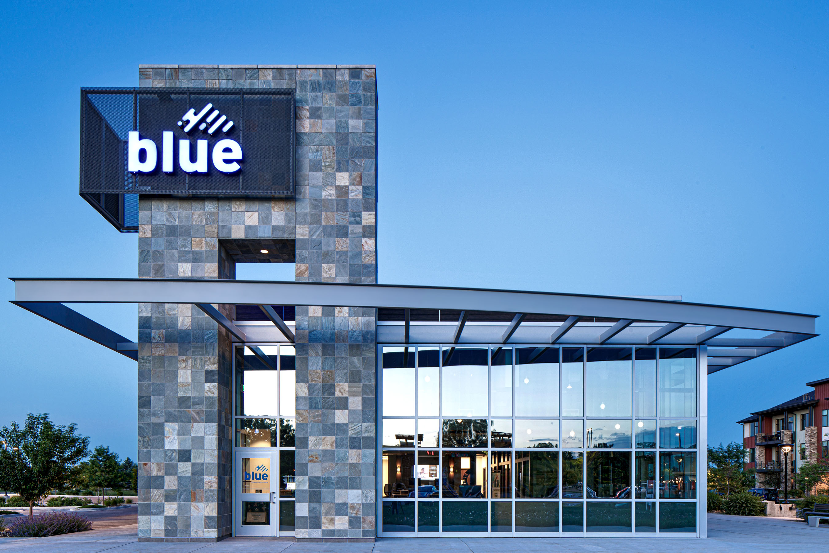 Architecture photography of Blue Federal Credit Union located in Fort Collins, Colorado.