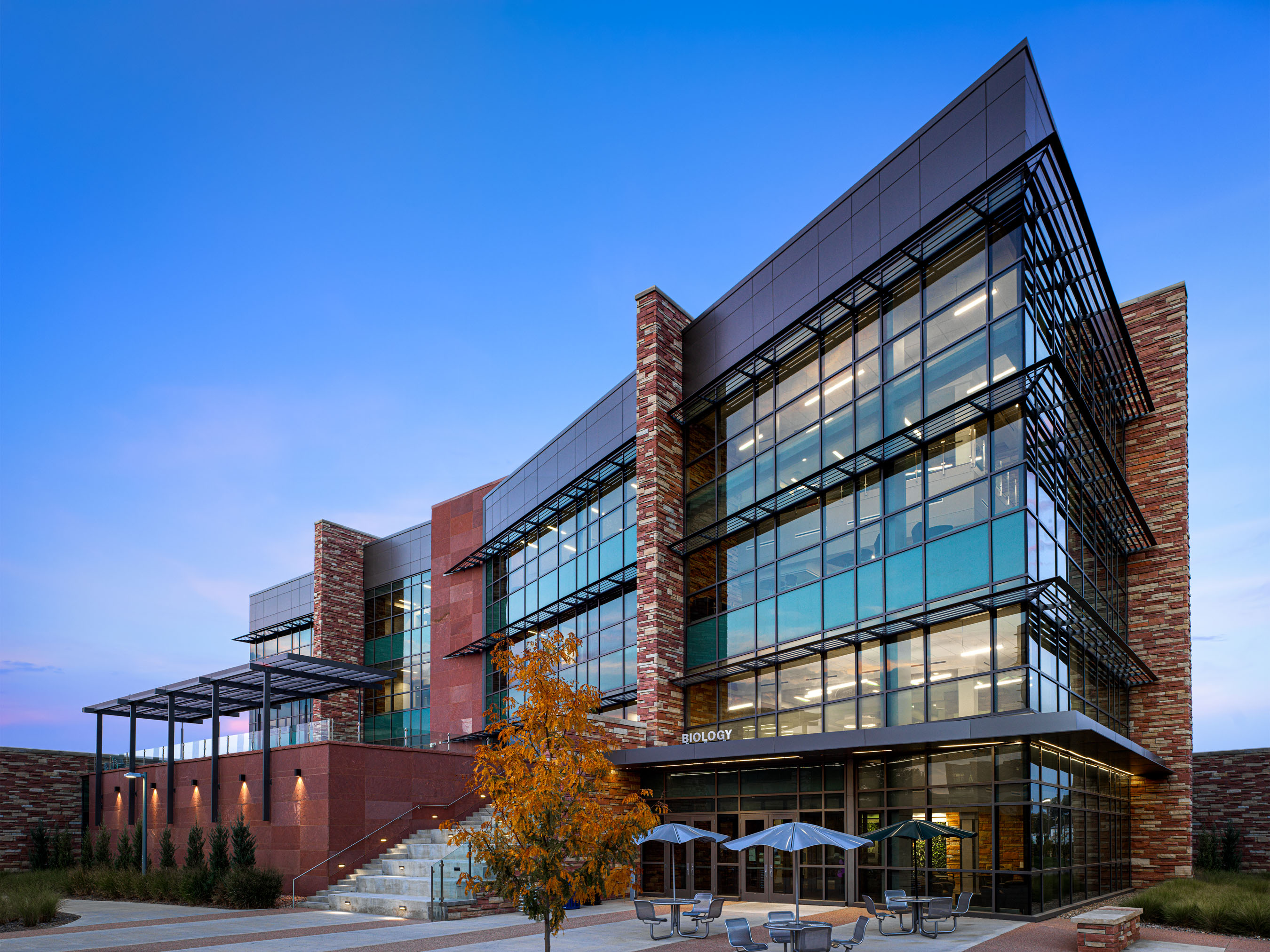 Architecture photography of CSU Biology Building in Fort Collins, Colorado.